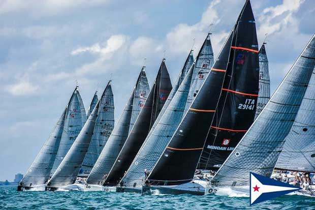 The fleet of 14 boats comes off the starting line in close proximity during the Farr 40 Pre-Worlds, held Wednesday out of the Chicago Yacht Club Belmont Station. © Chicago Yacht Club