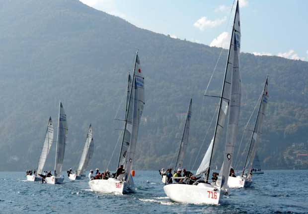The Melges 24 fleet heading to the upwind mark on Lake Maggiore © Piret Salmistu