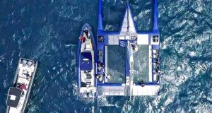 F-50 First test Sail - aerial shot showing three crew cockpits, daggerboard cases, and general layout of the F50. - photo © Beau Outteridge