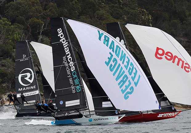 Close fleet racing downwind during race 1 of the 18ft Skiff Club Championship on Sydney Harbour ©Frank Quealey