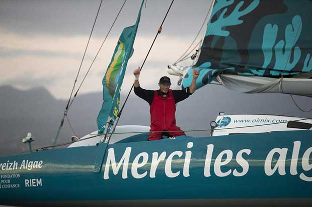 French sailor Pierre Antoine wins the Rhum Multi class on Olmix in the Route du Rhum-Destination Guadeloupe © Alexis Courcoux
