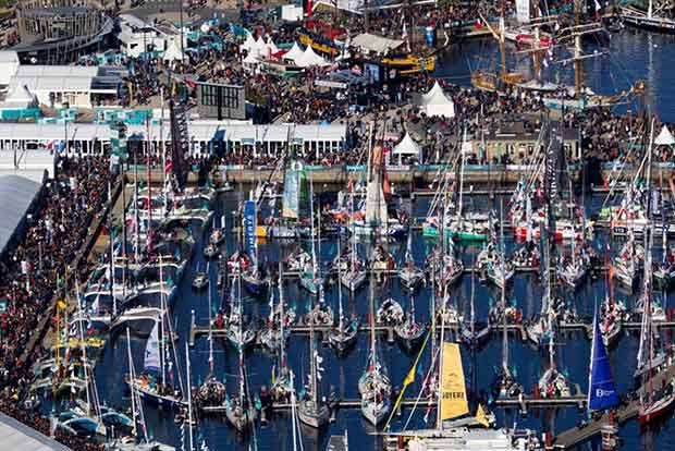 123 boats in the race village in Saint Malo ahead of the Route du Rhum-Destination Guadeloupe start on Sunday. © ALEXIS COURCOUX