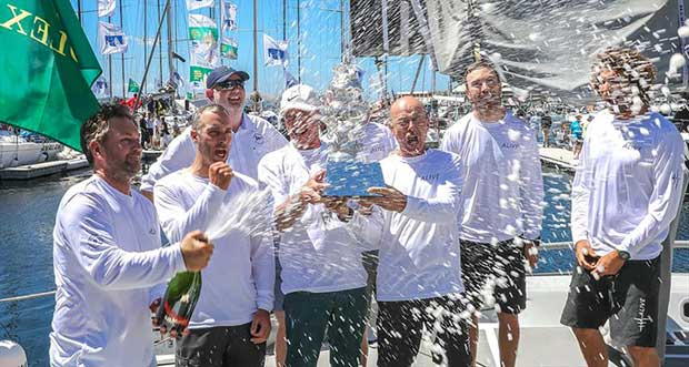 Alive Yachting claim the Tattersall's Cup for the overall win under IRC rating in the 2018 Sydney Hobart race © Crosbie Lorimer