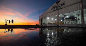 The Mule, American Magic's 38-foot test boat, rests at the team's winter base in Pensacola, Florida - photo © American Magic