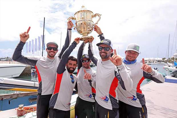 Taylor Canfield (left) and crew Victor Diaz de Leon, George Peet, Mike Buckley (2nd right) and Erik Shampain, champions of the 68th Argo Group Gold Cup, Bermuda - photo © Charles Anderson / RBYC