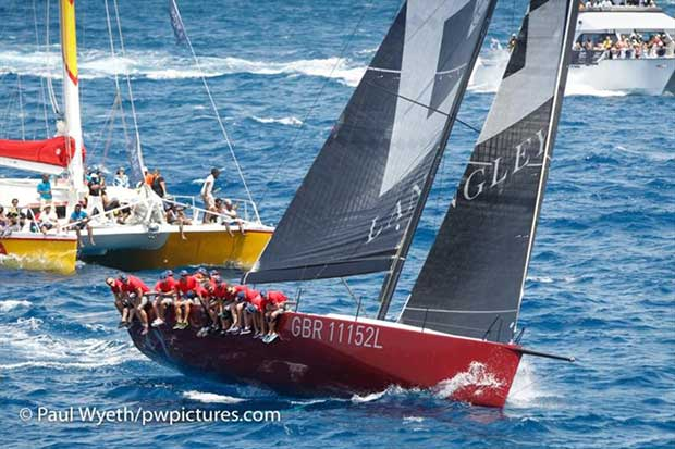 Chase The Race spectators enjoying the close encounter with Scarlet Oyster - Antigua Sailing Week - photo © Paul Wyeth / www.pwpictures.com