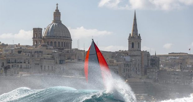 Swan 53, Silveren Swaen approaching the finish line of the Rolex Middle Sea Race with the capital city of Valletta in the background. © Rolex / Kurt Arrigo