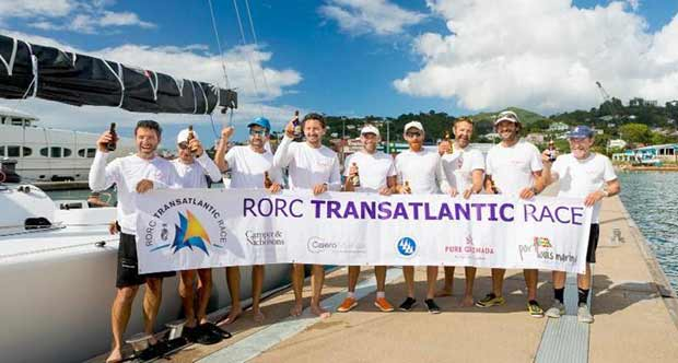 Celebrations in Grenada after completing the RORC Transatlantic Race in an elapsed time of 12 days 5 hrs 34 mins and 35 secs, Franco Niggeler's Cookson 50 Kuka3 is in a strong position to win the RORC Transatlantic Race Trophy - photo © RORC / Arthur Daniel