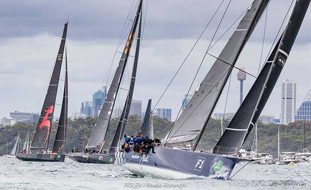 Black Jack, Infotrack and Scallywag - 2018 Grinders Coffee SOLAS Big Boat Challenge - photo © Carlo Borlenghi / Rolex