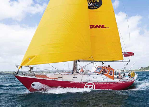 Susie Goodall and her Rustler 36 DHL Starlight - now in search of rain - Golden Globe Race © James Darling