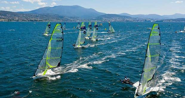 49er fleet on the Derwent River - 2019 Zhik 9er Australian Championship © Hartas Productions