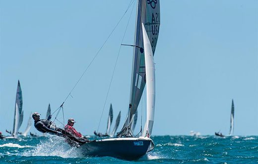 Mike Martin and Adam Lowry use a Seldén Alto mast to win the 505 World Championship in Fremantle © Drew Malcom / Seldén Mast