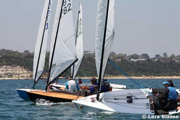 Close downwind on Day 5 - Australian OK Dinghy Nationals © Lara Blasse