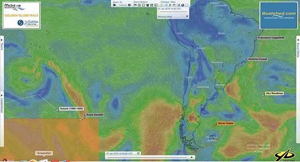 Golden Globe Race - Day 190 - Relative positions of Jean-Luc Van Den Heede and Mark Slats at 08:00 UTC today showing area of calms faced by the French leader - photo © Golden Globe Race