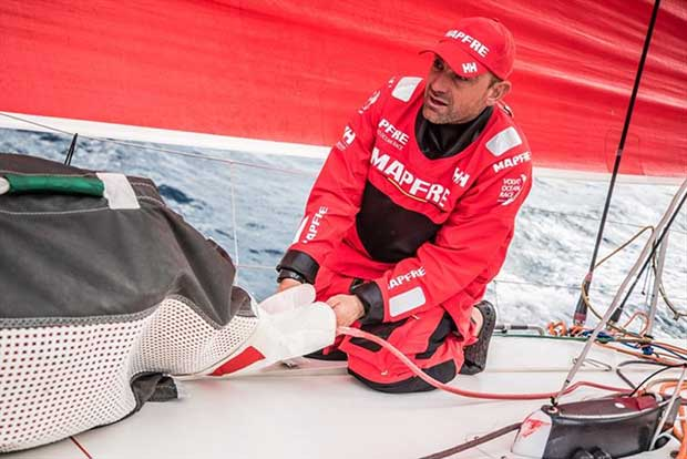 Volvo Ocean Race Leg 6 to Auckland, Day 2 on board MAPFRE, Xabi Fernandez setting up the seets of a sail. 08 February © Ugo Fonolla / Volvo Ocean Race