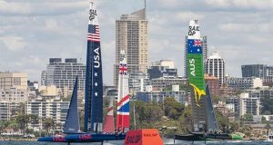 SailGP Practice race day. SailGP USA SailGP GBR Team, Team and SailGP Australia Team. © SailGP Communications
