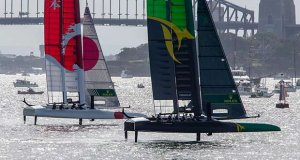 Australia and Japan battle it out in front of the Sydney Harbour Bridge © Crosbie Lorimer