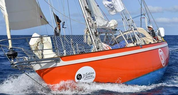 Istvan Kopar and his Tradewind 35 Puffin making good progress towards the Les Sables d'Olonne finish line today - Golden Globe Race © Christophe Favreau / PPL / GGR