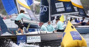 Lucy Macgregor (second from right), the women's world No. 6-ranked match racer, returns to the Argo Group Gold Cup hoping to improve on her fourth-place finish in 2018 © Charles Anderson