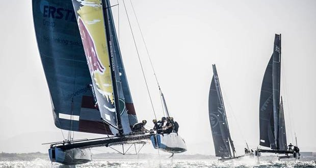 Red Bull Sailing Team is campaigned by Austrian sports legends, double Olympic Tornado gold medallists Roman Hagara and Hans-Peter Steinacher. © Dean Treml / Red Bull Content Pool