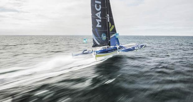 Flying - Francois Gabart's Ultime triamaran MACIF touched 49.4 knots in the Route du Rhum - photo © Vincent Curutchet / ALe'A