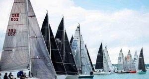 The Quarter Ton Cup fleet line up for the start of race 8 on the final day - photo © Waterline Media