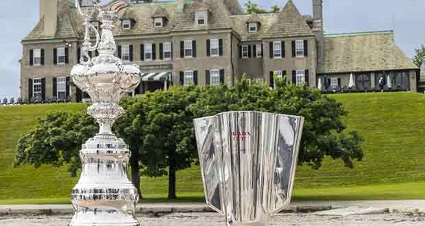 The America's Cup and the Prada Cup in front of the New York Yacht Club's Newport Club House © Carlo Borlenghi