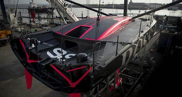 The deck access hatch is more obvious in this shot. The cockpit has been moved forward, enclosed and the deck space used for 60 solar panels - Hugo Boss Launch - Gosport, UK, August 2019, - photo © Lloyd Images