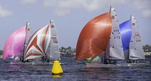 Jerwood under pressure in Practice Race 2, declared a dead heat with Justin Scott on day 1 of the Viper 640 Worlds Practice Regatta at Perth © Bernie Kaaks