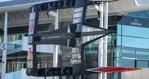 Emirates Team New Zealand's America's Cup winner put on permanent display in the America's Cup Village © Richard Gladwell