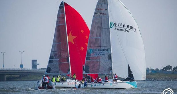 Seven Feet Team (RUS) and 2.0 Women's Racing (NZL) racing on day one of the 2019 China International Women's Match Race. © CIWMR 2019
