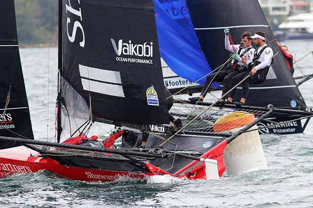 Shaw and Partners at the bottom mark on day 1 of the 18ft Skiff Australian Championship ©Frank Quealey