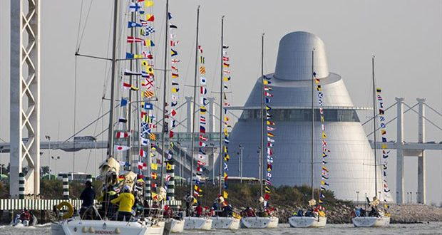 Parade of Sail in front of Macao Science Centre. Macao Cup International & Greater Bay Area Cup Regattas 2020. © Guy Nowell
