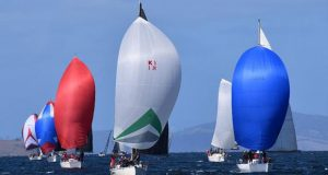 Performance Cruising Keelboats in colourful formation on the River Derwent - Banjo's Shoreline Crown Series Bellerive Regatta 2020 © Jane Austin