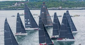 Based on a velocity prediction program, the Offshore Rating Rule handicaps cruisers and all-out racers such as in this Gibbs Hill Lighthouse Division fleet at the start of the 2018 Newport Bermuda Race. © Daniel Forster / PPL