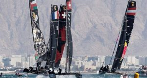 Alinghi leads at the all-important first reaching mark - GC32 Oman Cup day 3 © Sailing Energy / GC32 Racing Tour