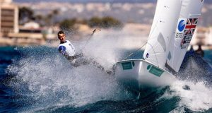 A 470 boat dealing with the waves in the bay of Palma - Trofeo Princesa Sofía Iberostar - photo © Pedro Martínez / Sailing Energy