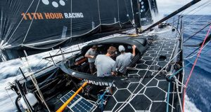 11th Hour Racing team (entry in The Ocean Race 2021-22) sailing their fully crewed IMOCA60 across the Atlantic - photo © Amory Ross / 11th Hour Racing