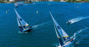 International One-Design sloops race upwind on Hamilton Harbour during the 2019 Bermuda Gold Cup © John Singleton