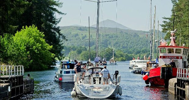 Pleasure yachts at Kytra, Caledonian Canal © Peter Sandground