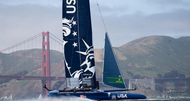 United States SailGP Team skippered by Rome Kirby warm up in front of the Golden Gate Bridge before the day's races. Race Day 1 Event 2 Season 1 SailGP event in San Francisco, © Lloyd Images for SailGP