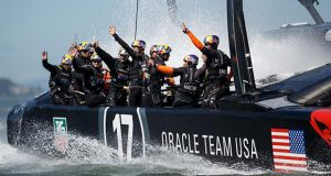 Five in a row for ORACLE TEAM USA in race 16 of the 34th America's Cup © Abner Kingman / ACEA