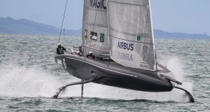 Defiant sets up for a fast gybe -American Magic - Waitemata Harbour - Auckland - America's Cup 36 - July 30, 2020 - photo © Richard Gladwell / Sail-World.com