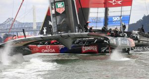 ORACLE TEAM USA narrowly miss Emirates Team New Zealand during race 13 of the 34th America's Cup © Gilles Martin-Raget / ACEA
