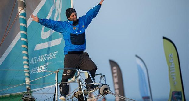 Celebration during finish arrival of Arnaud Boissieres FRA skipper La Mie Caline 10th of the sailing circumnavigation solo race Vendee Globe in Les Sables d Olonne France on February 17th 2017 © Olivier Blanchet /DPPI /Vendee Globe