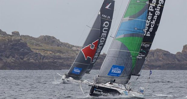 The fleet pass the Isles of Scilly during La Solitaire du Figaro 2020 Leg 1 - photo © Alexis Courcoux