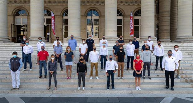 Official group picture of the skippers is being shot during the official press conference of the Vendee Globe, solo sailing race around the world, in Paris, France, on September 17. © Jean-Marie Liot