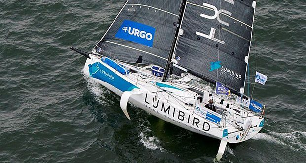 Michel Desjoyeaux in Lumibird leads the first night in the 50th La Solitaire URGO Le Figaro Leg 1 © Yvan Zedda