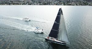 Alive sailing to the finish line to take line honours in the TasPorts Launceston to Hobart Yacht Race © Steve Shield