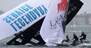 Trouble at the bottom mark in Race 4 of the 18ft Skiff Australian Championship © Frank Quealey